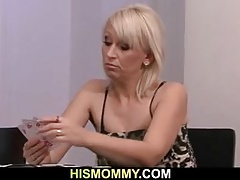 Lesbian mom toying his girlriend