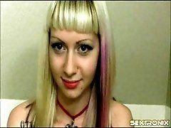 Cam girl puts on pretty pink...